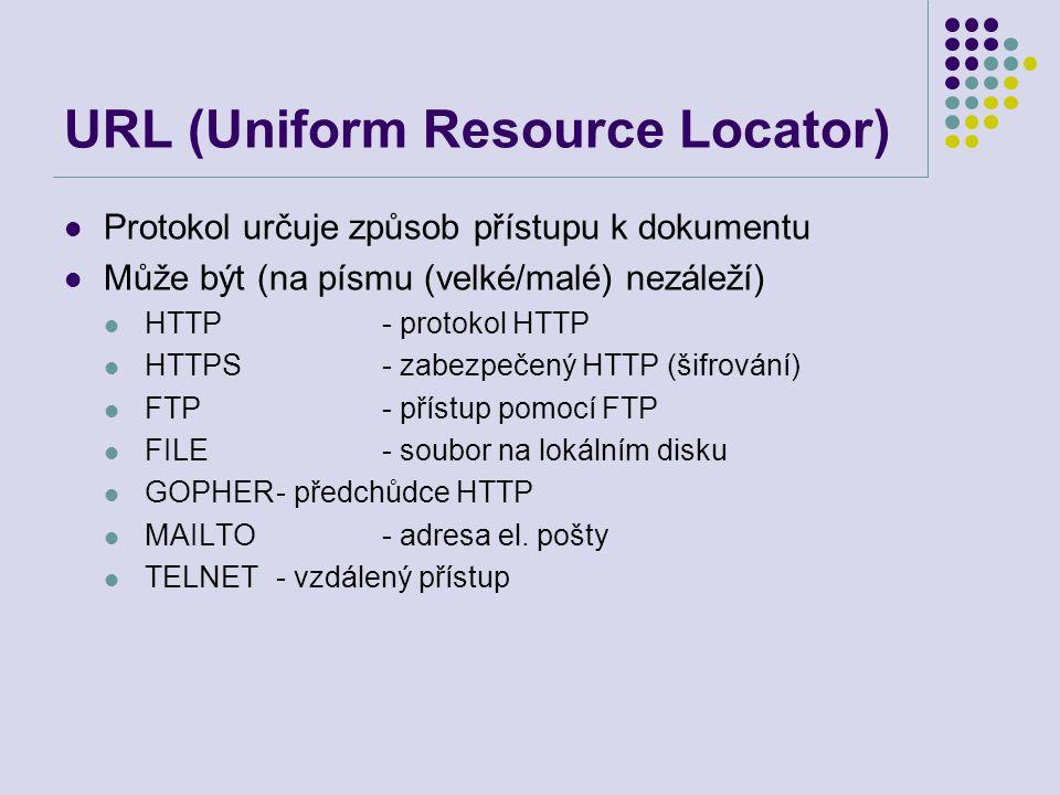 URL (Uniform Resource Locator) Protokol určuje způsob přístupu k dokumentu Může být (na písmu (velké/malé) nezáleží) HTTP- protokol HTTP HTTPS- zabezp