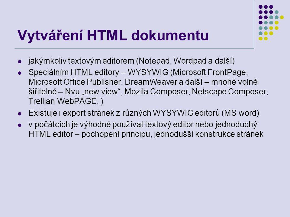 Vytváření HTML dokumentu jakýmkoliv textovým editorem (Notepad, Wordpad a další) Speciálním HTML editory – WYSYWIG (Microsoft FrontPage, Microsoft Off