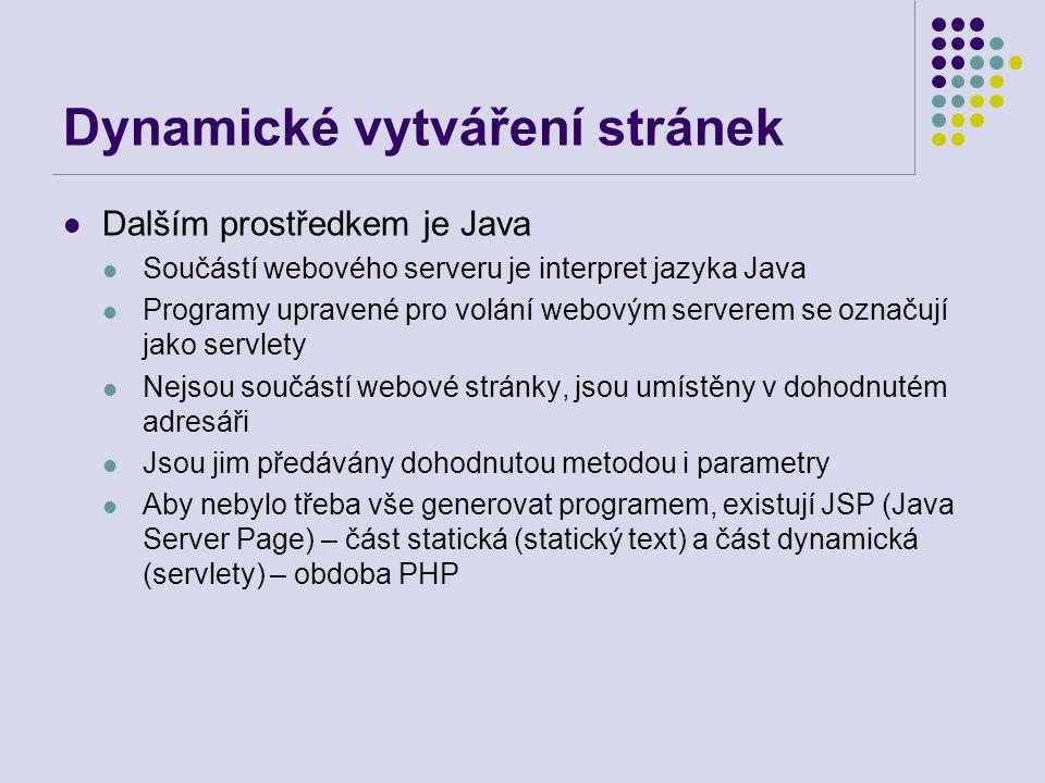 Dynamické vytváření stránek Dalším prostředkem je Java Součástí webového serveru je interpret jazyka Java Programy upravené pro volání webovým servere