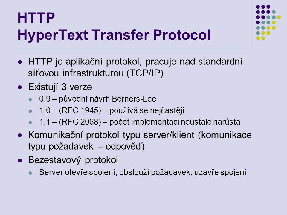 HTTP HyperText Transfer Protocol HTTP je aplikační protokol, pracuje nad standardní síťovou infrastrukturou (TCP/IP) Existují 3 verze 0.9 – původní ná