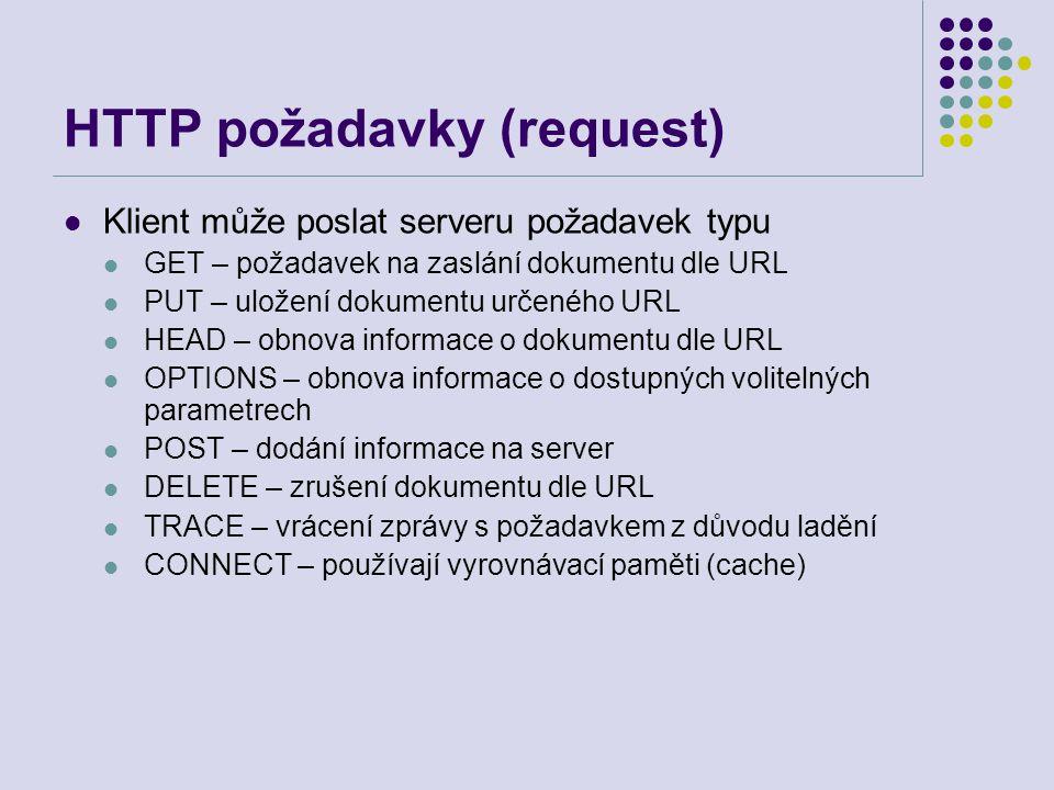 HTTP požadavky (request) Klient může poslat serveru požadavek typu GET – požadavek na zaslání dokumentu dle URL PUT – uložení dokumentu určeného URL H