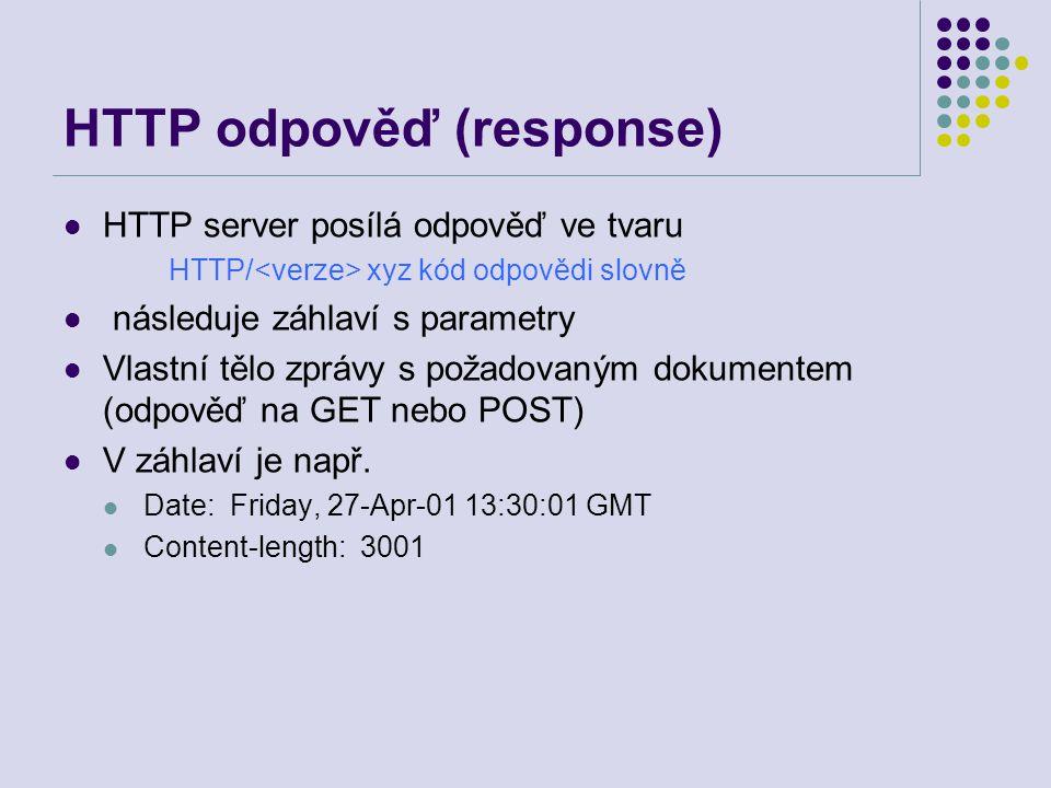 HTTP odpověď (response) HTTP server posílá odpověď ve tvaru HTTP/ xyz kód odpovědi slovně následuje záhlaví s parametry Vlastní tělo zprávy s požadova