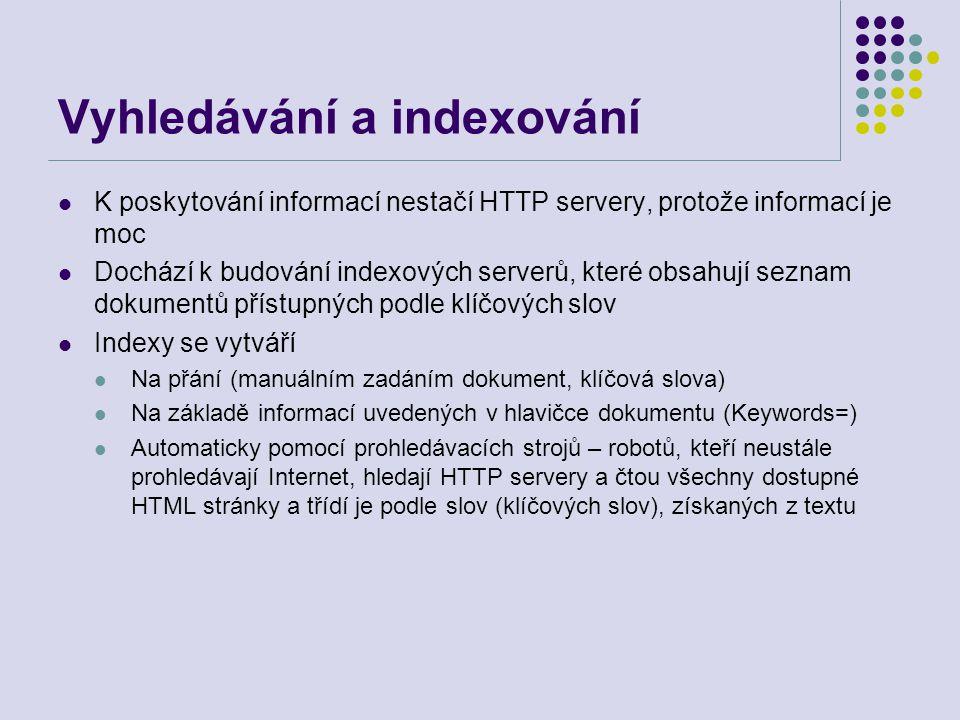 Vyhledávání a indexování K poskytování informací nestačí HTTP servery, protože informací je moc Dochází k budování indexových serverů, které obsahují