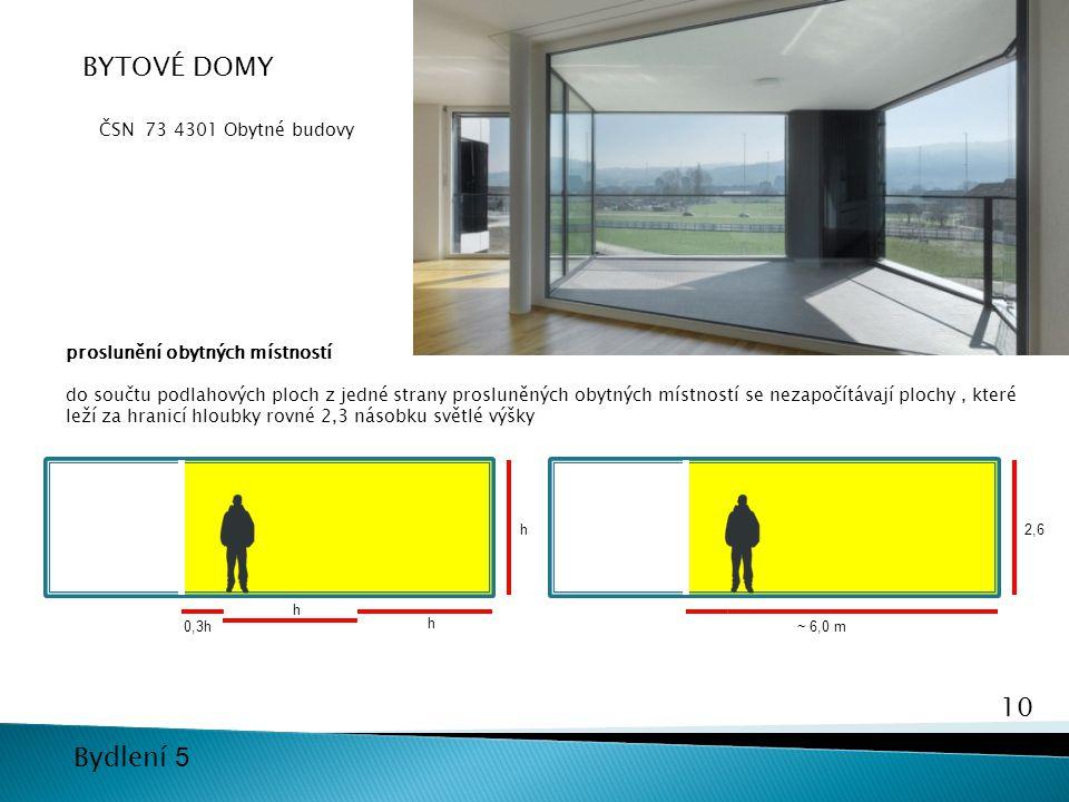 10 Bydlení 5 BYTOVÉ DOMY ČSN 73 4301 Obytné budovy proslunění obytných místností do součtu podlahových ploch z jedné strany prosluněných obytných míst