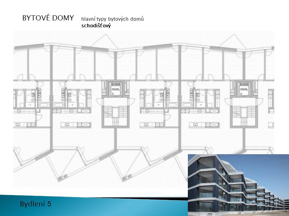 12 Bydlení 5 BYTOVÉ DOMY hlavní typy bytových domů schodišťový