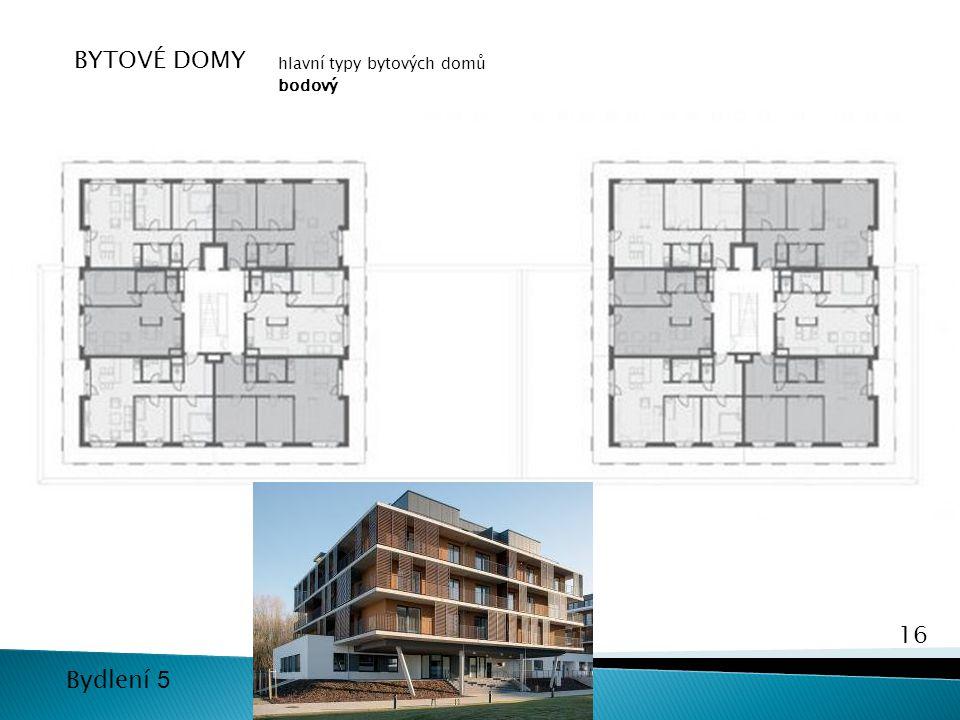 16 Bydlení 5 BYTOVÉ DOMY hlavní typy bytových domů bodový