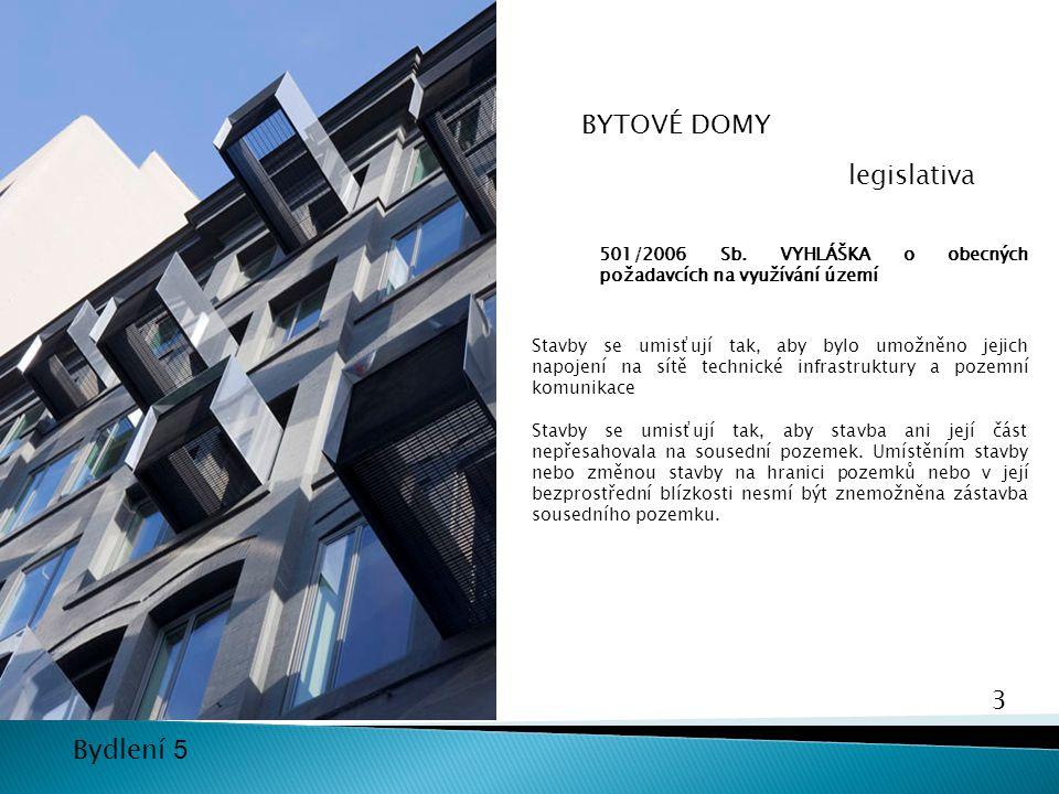 3 Bydlení 5 501/2006 Sb. VYHLÁŠKA o obecných požadavcích na využívání území Stavby se umisťují tak, aby bylo umožněno jejich napojení na sítě technick