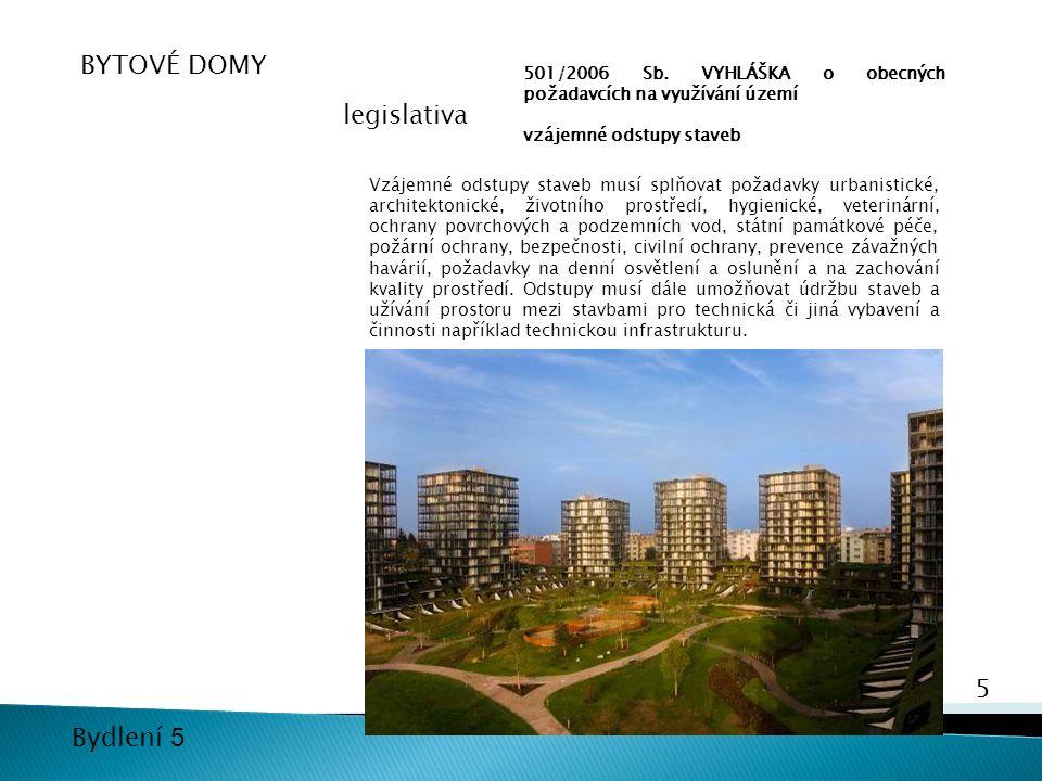 5 Bydlení 5 501/2006 Sb. VYHLÁŠKA o obecných požadavcích na využívání území vzájemné odstupy staveb Vzájemné odstupy staveb musí splňovat požadavky ur