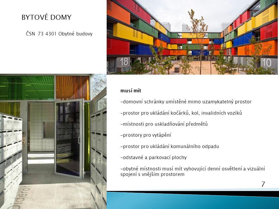 7 Bydlení 5 BYTOVÉ DOMY ČSN 73 4301 Obytné budovy musí mít -domovní schránky umístěné mimo uzamykatelný prostor -prostor pro ukládání kočárků, kol, in