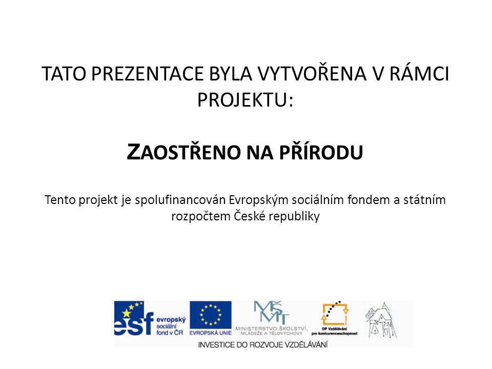 TATO PREZENTACE BYLA VYTVOŘENA V RÁMCI PROJEKTU: Z AOSTŘENO NA PŘÍRODU Tento projekt je spolufinancován Evropským sociálním fondem a státním rozpočtem