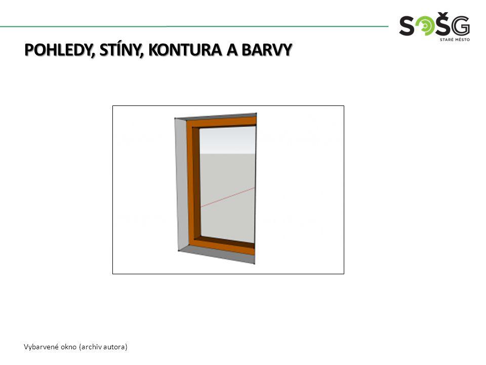 Vybarvené okno a stěna domu (archiv autora) POHLEDY, STÍNY, KONTURA A BARVY