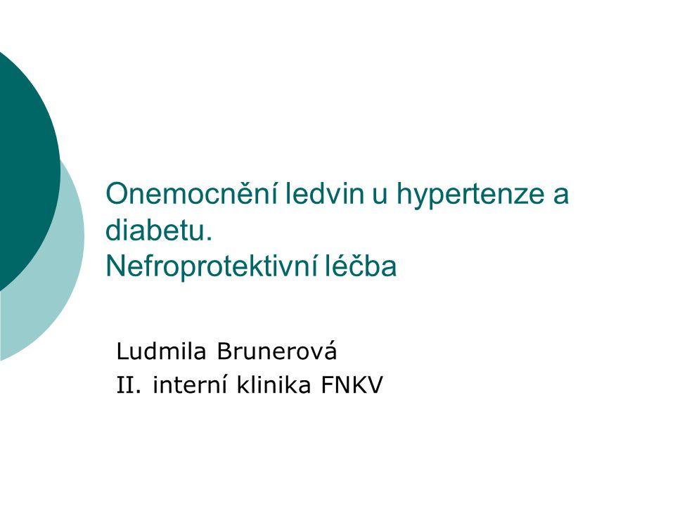Onemocnění ledvin u hypertenze a diabetu. Nefroprotektivní léčba Ludmila Brunerová II. interní klinika FNKV