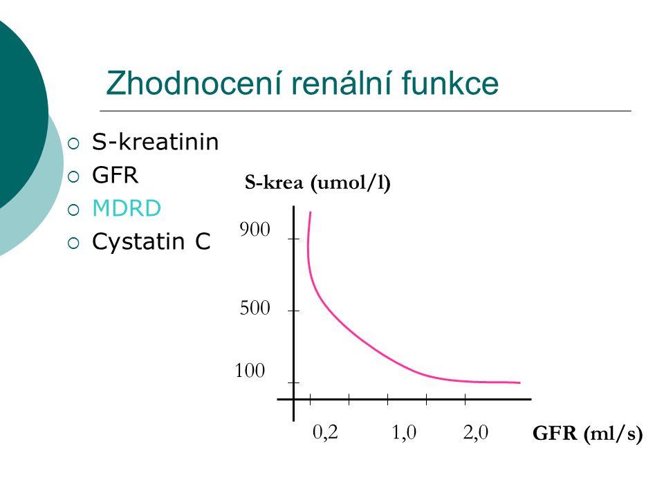 Zhodnocení renální funkce  S-kreatinin  GFR  MDRD  Cystatin C S-krea (umol/l) 100 500 900 GFR (ml/s) 0,2 1,02,0