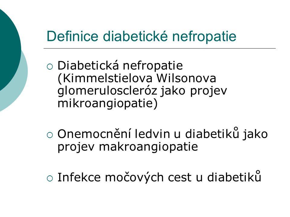 Definice diabetické nefropatie  Diabetická nefropatie (Kimmelstielova Wilsonova glomeruloscleróz jako projev mikroangiopatie)  Onemocnění ledvin u d
