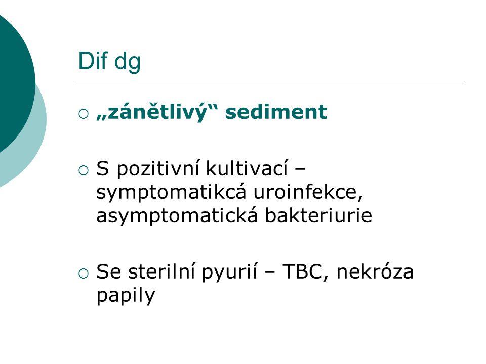 """Dif dg  """"zánětlivý"""" sediment  S pozitivní kultivací – symptomatikcá uroinfekce, asymptomatická bakteriurie  Se sterilní pyurií – TBC, nekróza papil"""