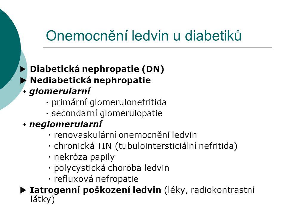 Onemocnění ledvin u diabetiků  Diabetická nephropatie (DN)  Nediabetická nephropatie  glomerularní  primární glomerulonefritida  secondarní glome