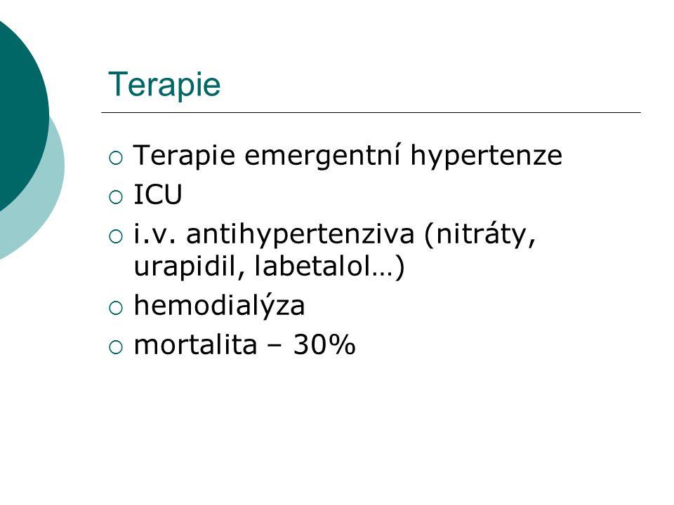 Terapie  Terapie emergentní hypertenze  ICU  i.v. antihypertenziva (nitráty, urapidil, labetalol…)  hemodialýza  mortalita – 30%