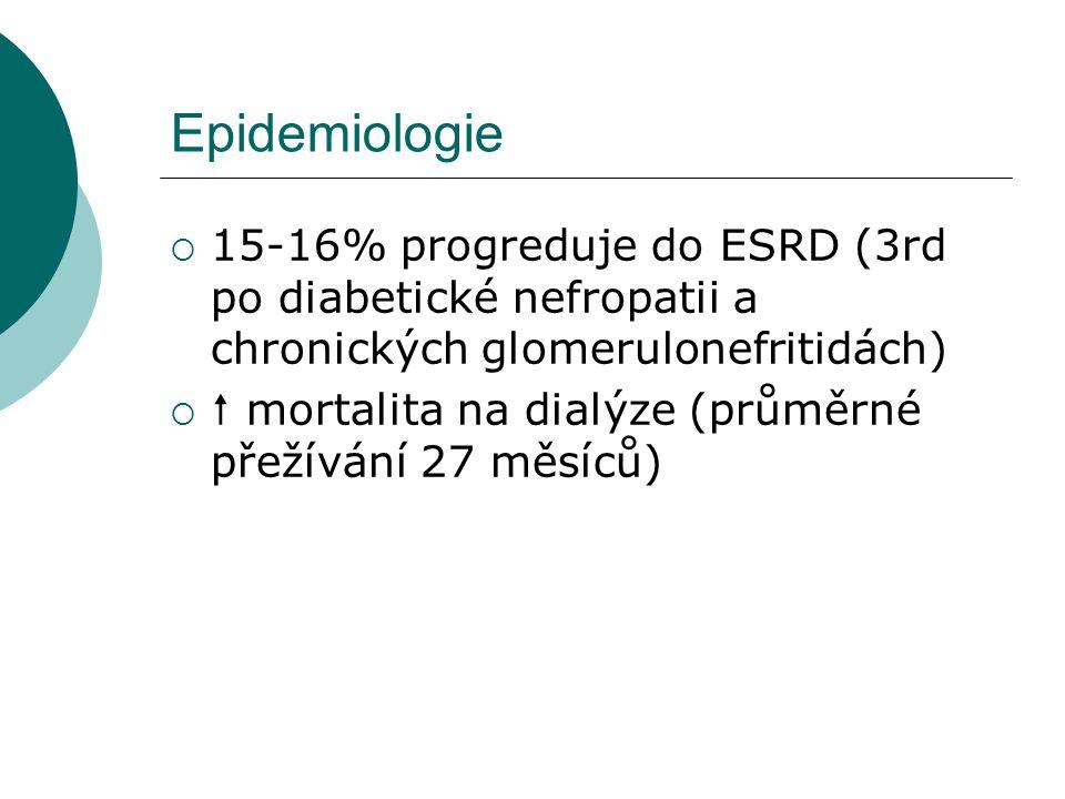 Epidemiologie  15-16% progreduje do ESRD (3rd po diabetické nefropatii a chronických glomerulonefritidách)   mortalita na dialýze (průměrné přežívá