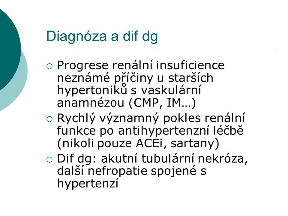 Diagnóza a dif dg  Progrese renální insuficience neznámé příčiny u starších hypertoniků s vaskulární anamnézou (CMP, IM…)  Rychlý významný pokles re