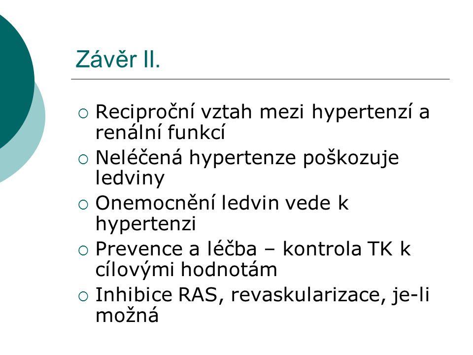 Závěr II.  Reciproční vztah mezi hypertenzí a renální funkcí  Neléčená hypertenze poškozuje ledviny  Onemocnění ledvin vede k hypertenzi  Prevence
