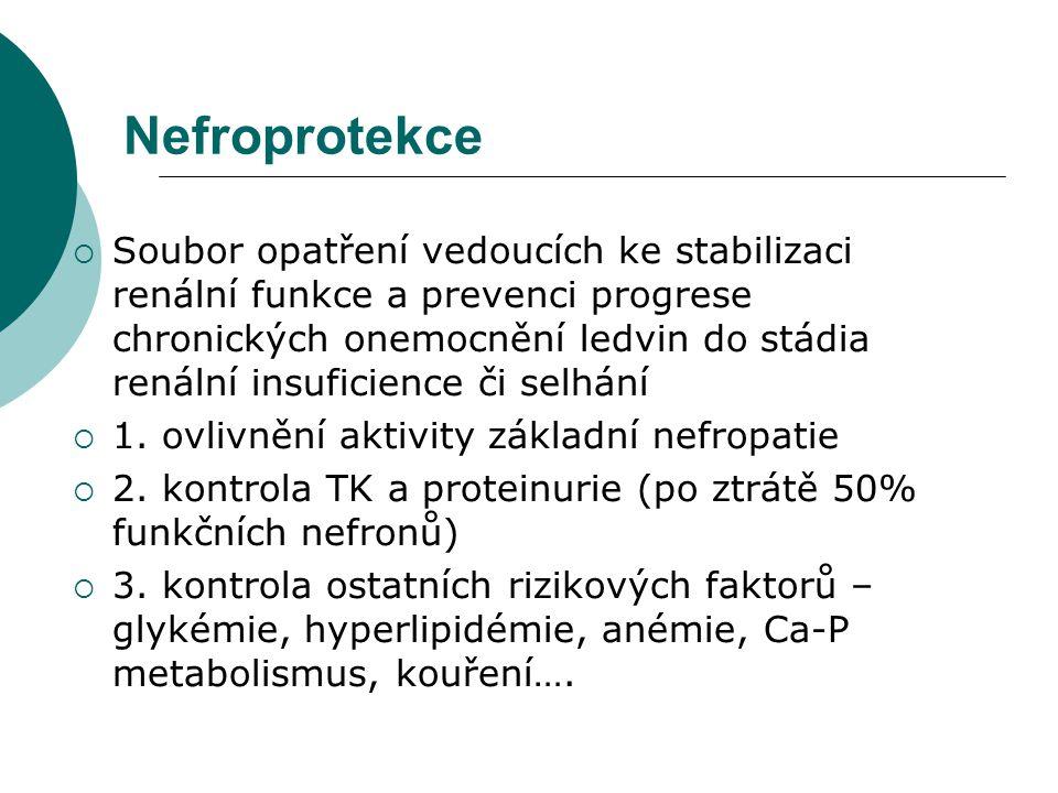 Nefroprotekce  Soubor opatření vedoucích ke stabilizaci renální funkce a prevenci progrese chronických onemocnění ledvin do stádia renální insuficien