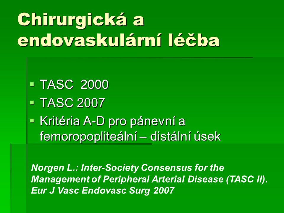 Chirurgická a endovaskulární léčba  TASC 2000  TASC 2007  Kritéria A-D pro pánevní a femoropopliteální – distální úsek Norgen L.: Inter-Society Con