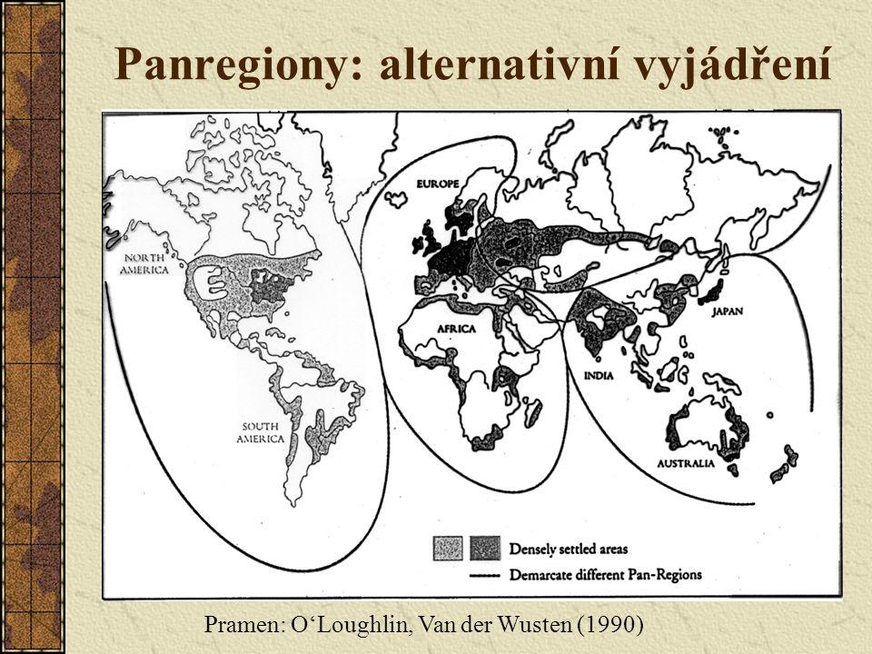 Panregiony: alternativní vyjádření Pramen: O'Loughlin, Van der Wusten (1990)