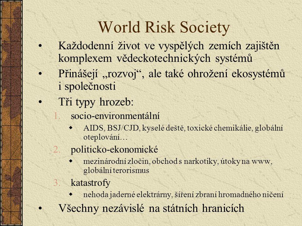 """World Risk Society Každodenní život ve vyspělých zemích zajištěn komplexem vědeckotechnických systémů Přinášejí """"rozvoj"""", ale také ohrožení ekosystémů"""
