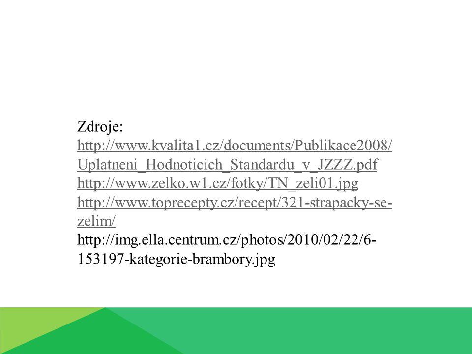 Zdroje: http://www.kvalita1.cz/documents/Publikace2008/ Uplatneni_Hodnoticich_Standardu_v_JZZZ.pdf http://www.zelko.w1.cz/fotky/TN_zeli01.jpg http://www.toprecepty.cz/recept/321-strapacky-se- zelim/ http://img.ella.centrum.cz/photos/2010/02/22/6- 153197-kategorie-brambory.jpg