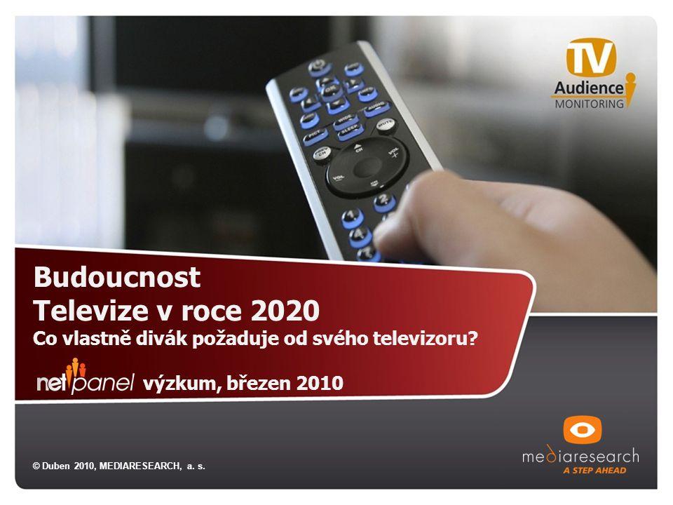 Budoucnost Televize v roce 2020 Co vlastně divák požaduje od svého televizoru? výzkum, březen 2010 © Duben 2010, MEDIARESEARCH, a. s.