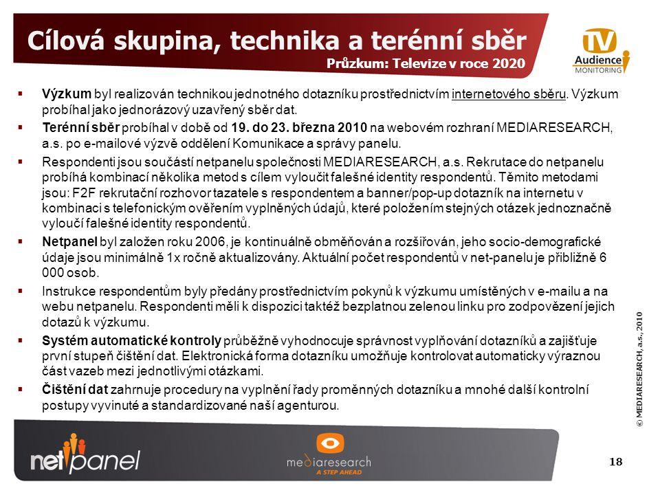 © MEDIARESEARCH, a.s., 2010 Cílová skupina, technika a terénní sběr 18  Výzkum byl realizován technikou jednotného dotazníku prostřednictvím internetového sběru.