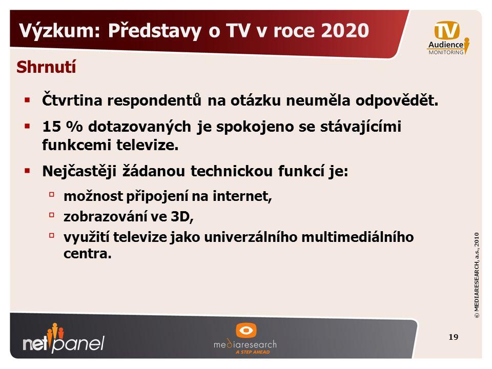 © MEDIARESEARCH, a.s., 2010 Výzkum: Představy o TV v roce 2020  Čtvrtina respondentů na otázku neuměla odpovědět.  15 % dotazovaných je spokojeno se