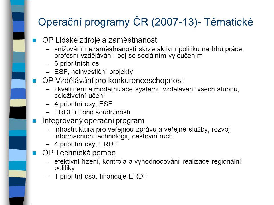 Operační programy ČR (2007-13)- Tématické OP Lidské zdroje a zaměstnanost –snižování nezaměstnanosti skrze aktivní politiku na trhu práce, profesní vz