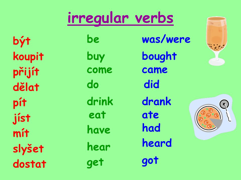 irregular verbs být koupit přijít dělat pít jíst mít slyšet dostat was/werebe buy come do drink eat have hear get bought came did drank ate had heard