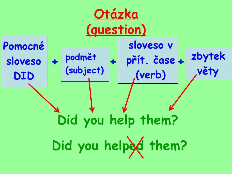 Otázka (question) podmět (subject) sloveso v přít.