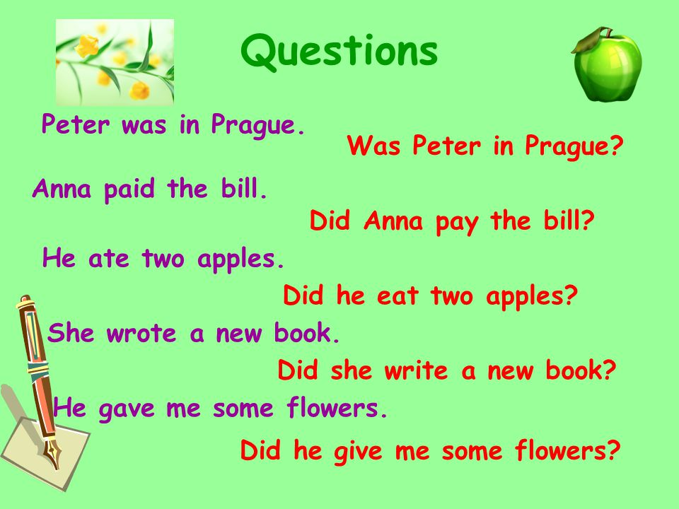 Questions Peter was in Prague. Anna paid the bill.