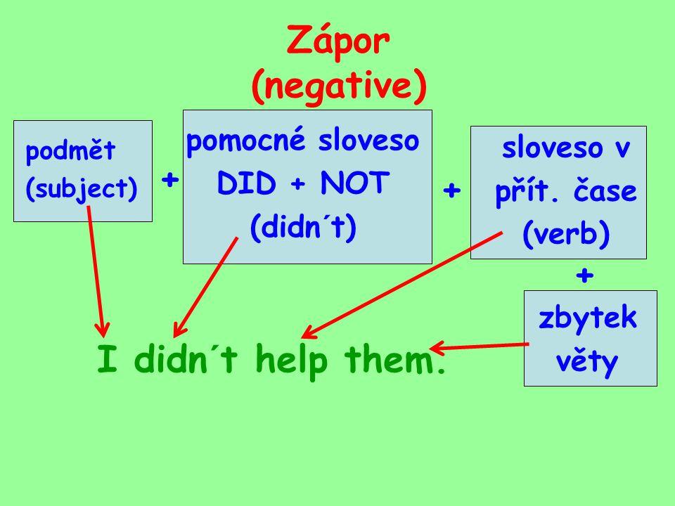 Zápor (negative) pomocné sloveso DID + NOT (didn´t) podmět (subject) sloveso v přít.
