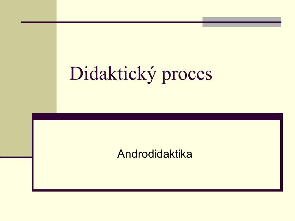 Didaktický proces Rozhodující role ve vzdělávání Složitý proces Ovlivněn řadou vnitřních a vnějších faktorů Vnější procesy Politické, ekonomické Sociální, vědecko-technické Demografické a další