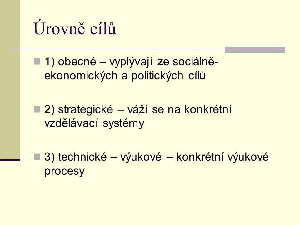 Úrovně cílů 1) obecné – vyplývají ze sociálně- ekonomických a politických cílů 2) strategické – váží se na konkrétní vzdělávací systémy 3) technické – výukové – konkrétní výukové procesy
