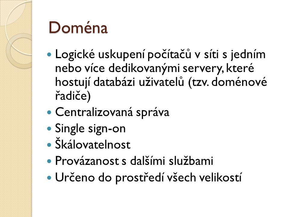 Doména Logické uskupení počítačů v síti s jedním nebo více dedikovanými servery, které hostují databázi uživatelů (tzv.