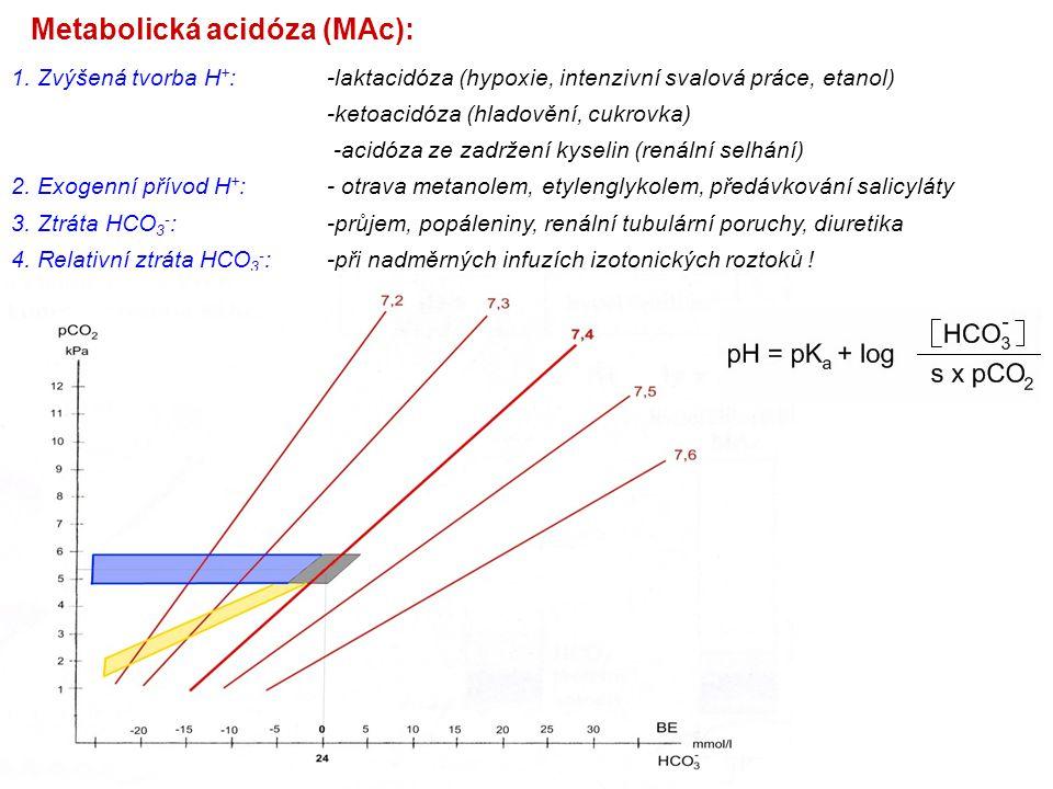Metabolická acidóza (MAc): 1. Zvýšená tvorba H + :-laktacidóza (hypoxie, intenzivní svalová práce, etanol) -ketoacidóza (hladovění, cukrovka) -acidóza