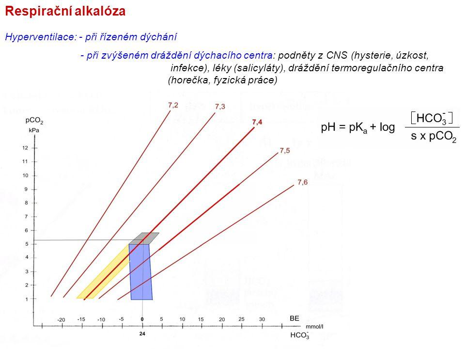 Respirační alkalóza Hyperventilace: - při řízeném dýchání - při zvýšeném dráždění dýchacího centra: podněty z CNS (hysterie, úzkost, infekce), léky (s