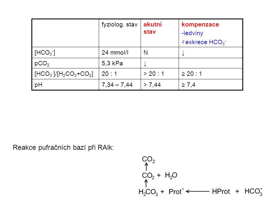 fyziolog. stavakutní stav kompenzace -ledviny - exkrece HCO 3 - [HCO 3 - ]24 mmol/lN↓ pCO 2 5,3 kPa↓ [HCO 3 - ]/[H 2 CO 3 +CO 2 ]20 : 1> 20 : 1≥ 20 :