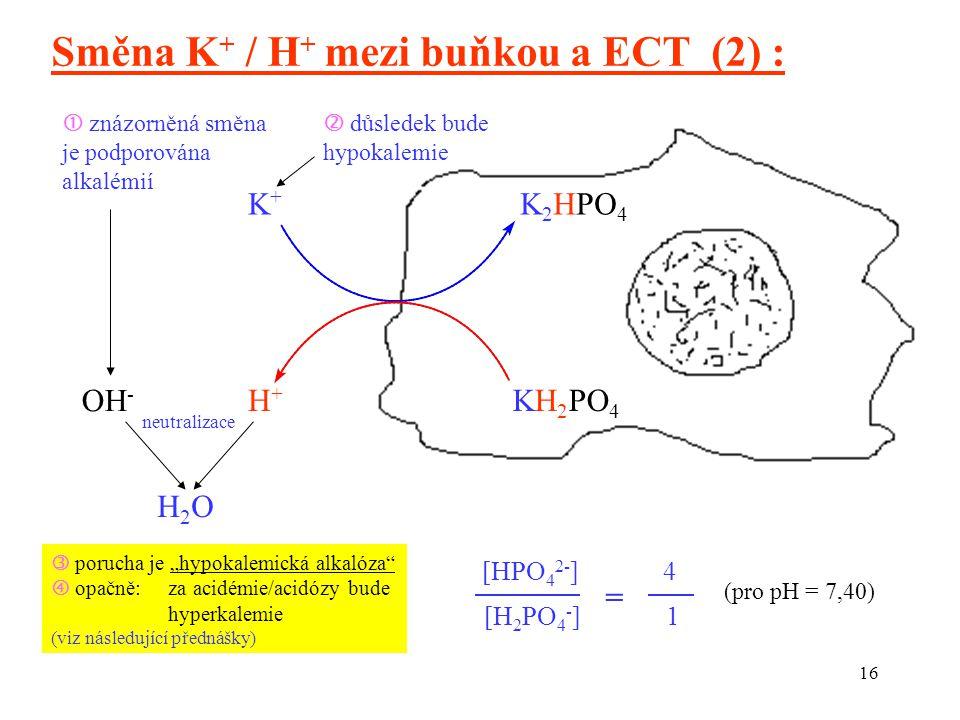 """16 Směna K + / H + mezi buňkou a ECT (2) : [HPO 4 2- ] [H 2 PO 4 - ] 4 1 = (pro pH = 7,40) K 2 HPO 4 K+K+ H+H+ KH 2 PO 4  znázorněná směna je podporována alkalémií OH - neutralizace H2OH2O  důsledek bude hypokalemie  porucha je """"hypokalemická alkalóza  opačně: za acidémie/acidózy bude hyperkalemie (viz následující přednášky)"""
