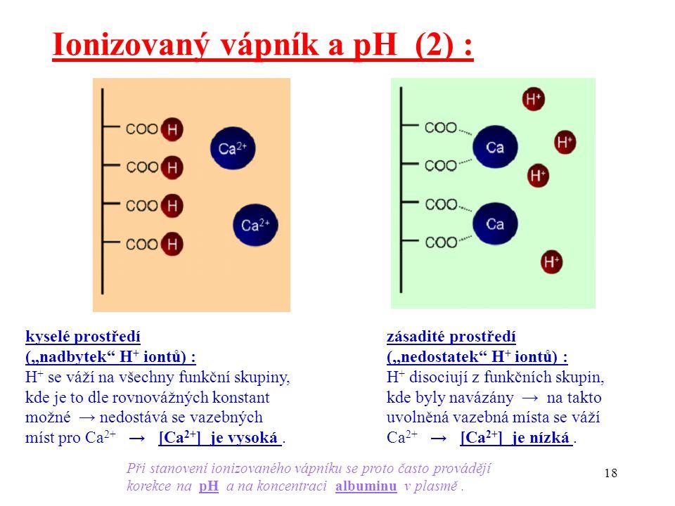 """18 Ionizovaný vápník a pH (2) : kyselé prostředí (""""nadbytek H + iontů) : H + se váží na všechny funkční skupiny, kde je to dle rovnovážných konstant možné → nedostává se vazebných míst pro Ca 2+ → [Ca 2+ ] je vysoká."""
