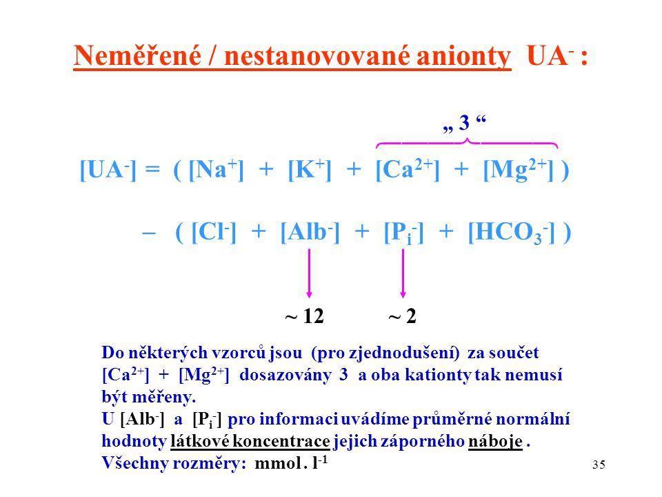 """35 [UA - ] = ( [Na + ] + [K + ] + [Ca 2+ ] + [Mg 2+ ] ) – ( [Cl - ] + [Alb - ] + [P i - ] + [HCO 3 - ] ) Neměřené / nestanovované anionty UA - :  ~ 12~ 2 """" 3 Do některých vzorců jsou (pro zjednodušení) za součet [Ca 2+ ] + [Mg 2+ ] dosazovány 3 a oba kationty tak nemusí být měřeny."""