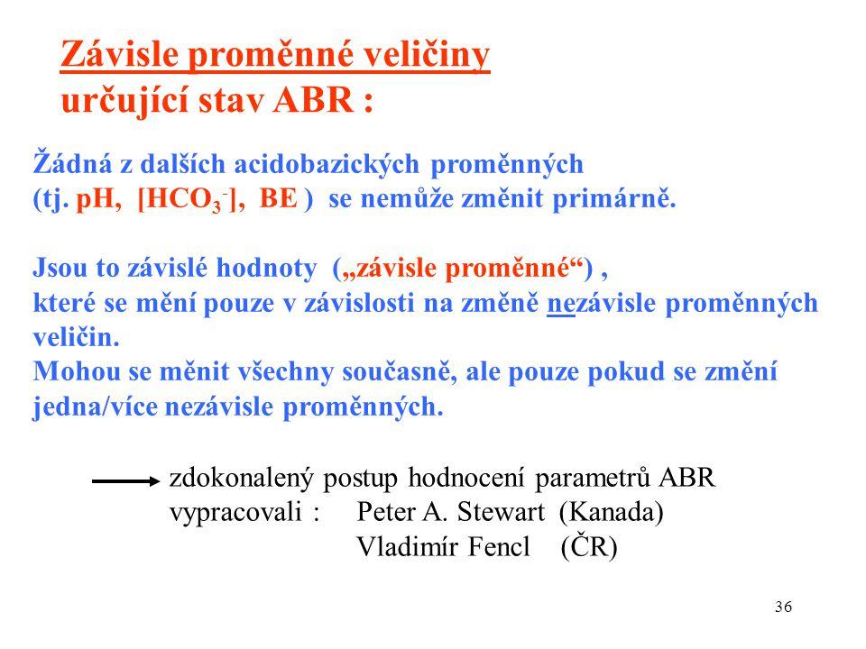 36 Žádná z dalších acidobazických proměnných (tj. pH, [HCO 3 - ], BE ) se nemůže změnit primárně.