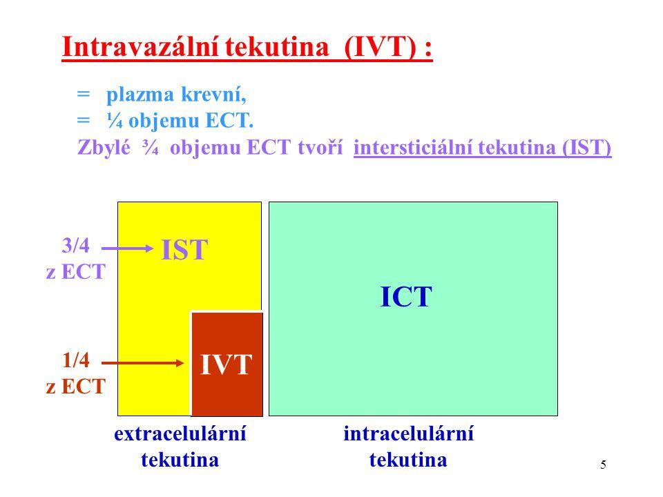 5 IST ICT extracelulární tekutina intracelulární tekutina IVT 1/4 z ECT Intravazální tekutina (IVT) : = plazma krevní, = ¼ objemu ECT.