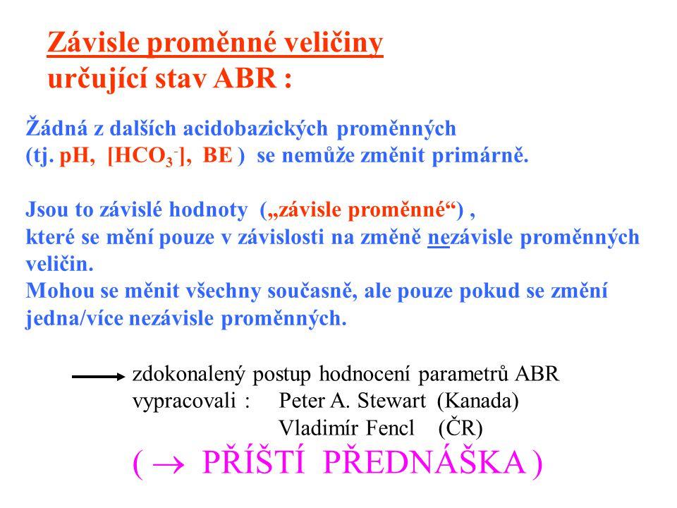 """Žádná z dalších acidobazických proměnných (tj. pH, [HCO 3 - ], BE ) se nemůže změnit primárně. Jsou to závislé hodnoty (""""závisle proměnné""""), které se"""