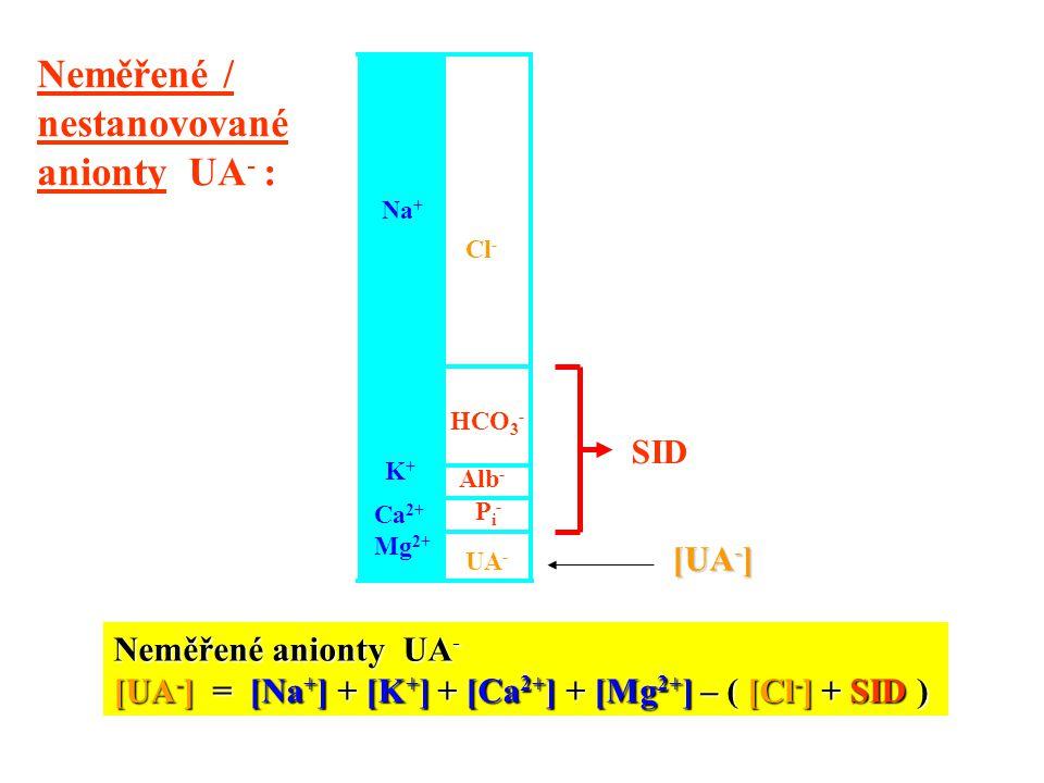 Na + K+K+ Ca 2+ Mg 2+ HCO 3 - Alb - UA - Pi-Pi- Neměřené anionty UA - [UA - ] = [Na + ] + [K + ] + [Ca 2+ ] + [Mg 2+ ] – ( [Cl - ] + SID ) Cl - Neměře